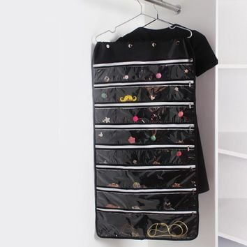 Oxford Hanging Organizer With Zipper Hanger Earring Necklace Jewelry Display Holder Dual Sided Jewellery Storage Display Pouch