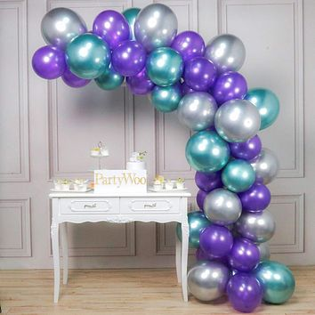 PartyWoo Green Purple Balloons, 50 pcs 12 inch Green Metallic Balloons, Pearl Purple Balloons, Silver Metallic Balloons for Mermaid Balloons, Little Mermaid Balloons, Mermaid Birthday, Mermaid Party