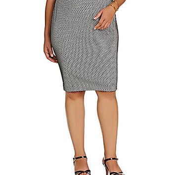 Vince Camuto Plus Mesh Overlay Pencil Skirt - New Ivory