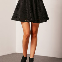 Black Floral Cut-Out Design Flare Skirt