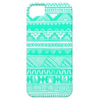 White Turquoise Mint Aqua Cute Girly Aztec Abstract Geometric Tribal Pattern iPhone 5 Case