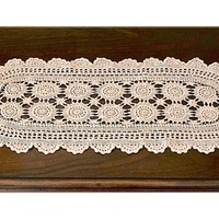 "29"" x 12"" Oval Dresser Scarf, Ecru Table Runner, Cottage Chic Linens, Retro Wedding Decor, Vintage Crocheted Doily, Long Crochet Centerpiece"