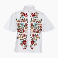 Flora Prep Button Up Shirt - Plain White