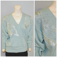 Vintage 1980's Baby Blue V-Neck Sweater with Floral Embroiderey and Pearl Embellishments Jacqueline Smith Deadstock Never Worn Tags Attached