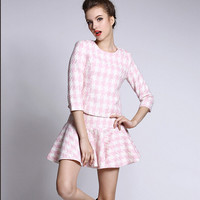 Houndstooth Pattern Print Sleeve Shirt With Paired Mini Skirt
