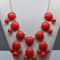 Bubble Statement Necklace - Red