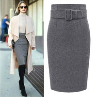 new fashion autumn winter style 2016 cotton plus size high waist saias femininas casual midi pencil skirt women skirts female