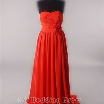 Real Pictures Long Evening Dress with Handmade Flowers on the Sash at Empire Waist and Pleated Skirt Bridesmaid Dress