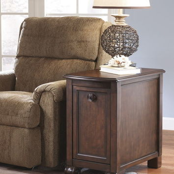 Ashley Furniture T496-7 Brookfield collection rich dark brown finish wood chair side end table cabinet