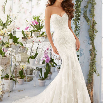 Embroidered Lace Appliques on Net Over Soft Satin with Scalloped Hemline Morilee Bridal Wedding Dress   Style 5413   Morilee