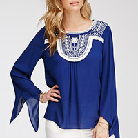 Fringed Embroidery Peasant Top