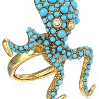 Kenneth Jay Lane Antique Gold and Dots Octopus Adjustable Ring, Size 7-9