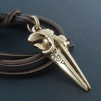 Whale Necklace Bronze Whale Skull Pendant on Leather