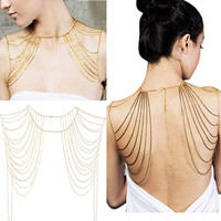 Hot Fashion Women Jewelry Golden And Black Tassels Link Body Shoulder Chain Necklace