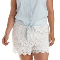 Plus Size White High-Waisted Lace Shorts by Charlotte Russe