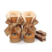UGG Women male bow Fashion Wool Snow Boots-1