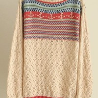 Anchor Print Cut Out Sweater