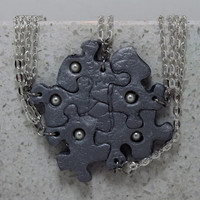 Puzzle Piece Necklace Set of 5 Bridesmaid or Best Friend Pendants Polymer Clay With Swarovski Pearls  Made To Order