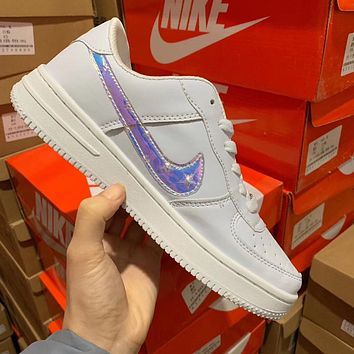 Nike Air Force 1 Pure Color Laser Hooks For Men And Women Low Top Flat White Shoes