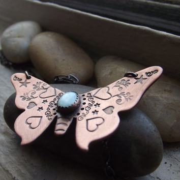 Butterfly and Larimar pendant, Nature lover gift, BFF gift, Girlfriend gift, Butterfly wings