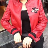 One-nice™ GUCCI Bee Embroidery Leather Long Sleeve Cardigan Jacket Coat