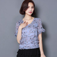 short-sleeved summer women chiffon blouses New 2016 Fashion Casual Ruffles loose women tops Plus size women clothing