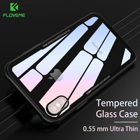 FLOVEME Tempered Glass Case For iPhone 6 6S 7 8 Plus X Prevent Scratches Phone Cases For iPhone 6S 6 7 8 Plus X 10 Clear Cover