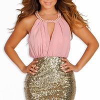 Rose Pink and Gold Sequins Party Dress with Chain Neck Wrap