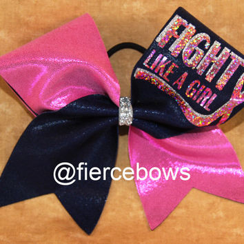 Breast CAncer Awareness Cheer Bow by MyFierceBows on Etsy