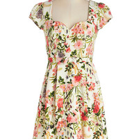 ModCloth Mid-length Cap Sleeves A-line Language of Lovely Dress