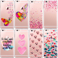 Watercolor Romantic Pink Heart Case For iphone 6 6s Transparent Silicon Protective Cell Phone Cases Cover