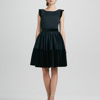 Velveteen-Trim Dress