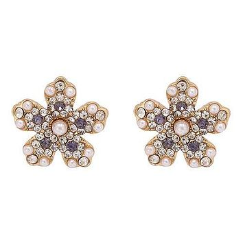 Pearl & Swarovski Bridal Stud Floral Earrings
