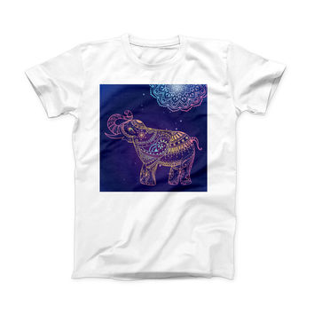 The Colorful Sacred Elephant ink-Fuzed Front Spot Graphic Unisex Soft-Fitted Tee Shirt