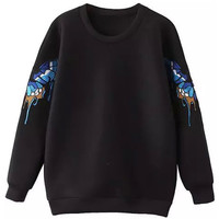 Butterfly Graphic Print Long Sleeve Knit Sweatshirt in Black or White
