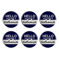 Nathaniel Hello My Name Is Plastic Resin Button Set of 6
