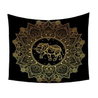 Indian Elephant Tapestry Animal Golden Printed