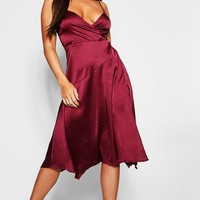 Strappy Satin Wrap Midi Dress | Boohoo