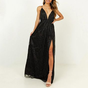 Backless Slits Maxi Dress