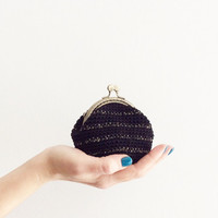 Crochet coin purse, kiss lock coin purse, the Golden Stripe Keeper, in black and golden