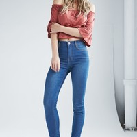 Bullhead Denim Co. Azure Indigo Super High Rise Skinny Jeans - Womens Jeans - Blue