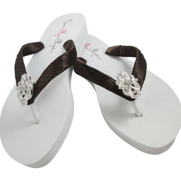 Vintage Lace Bride & Bridesmaid Flip Flops with Chocolate Brown Satin & Platform Wedged Heel