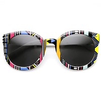 Women's Indie Fashion Oversize Round Native Print Sunglasses 9379