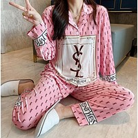 YSL Fashion Women Long Sleeve Shirt Pants Two-Piece