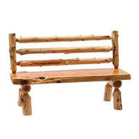 """Traditional Cedar 60"""" Log Bench with Back"""