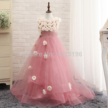 Charming 2015 Flower Girl Dresses With Flowers Long Custom Tulle Toddler Girls Pageant Dresses With Train Real Images
