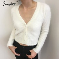 Casual knitting white cardigan female Elegant v neck cardigan knitted jumper warm winter sweater women cardigan