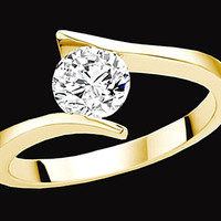 1.25 ct. F VS1 Round cut diamond solitaire anniversary ring yellow gold new