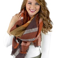 Brown and Rust Plaid Blanket Scarf