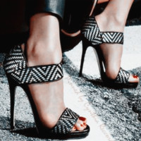 Fashion sexy summer stripe open-toed high heel sandal